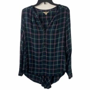 LUCKY BRAND Plaid Hi Low Button Down Shirt Med 🎈